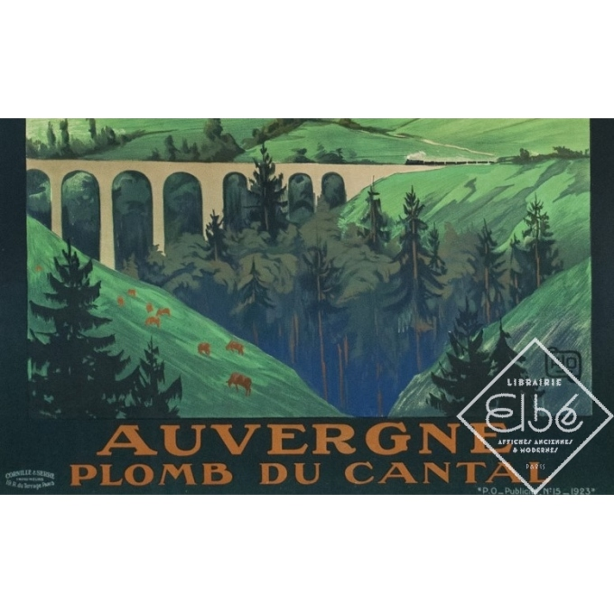 Affiche ancienne de voyage - Hallo - 1923 - Auvergne Plomb Du Cantal - 104.5 par 74 cm - 3
