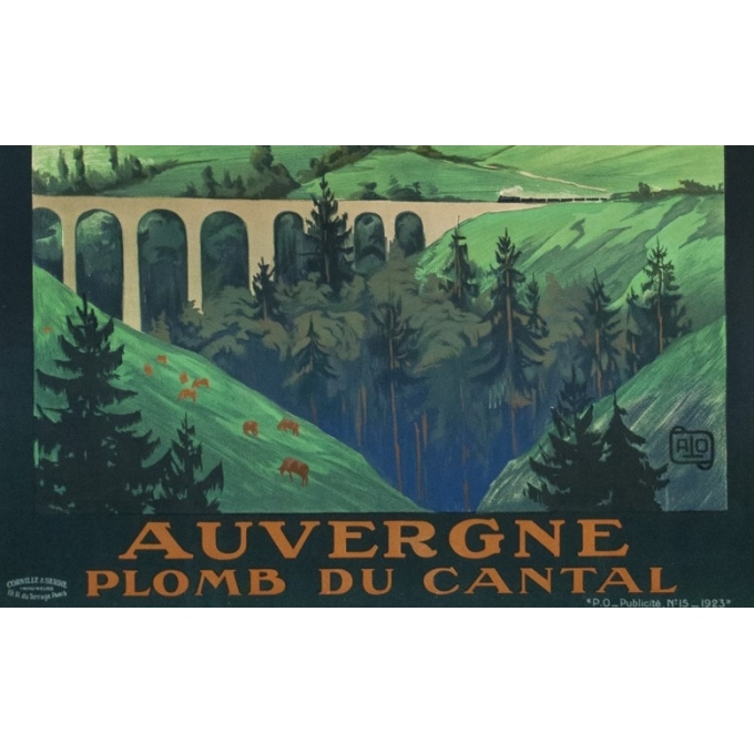 Vintage travel poster - Hallo - 1923 - Auvergne Plomb Du Cantal - 41.1 by 29.1 inches - 3