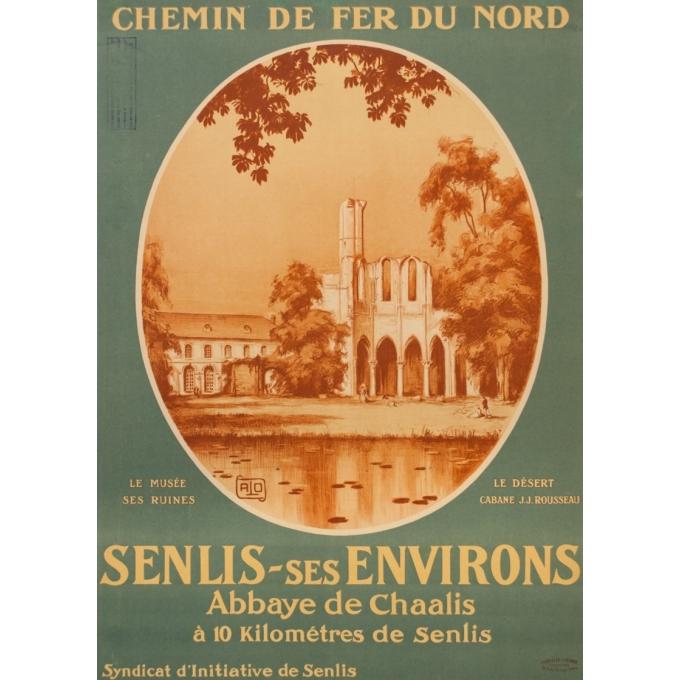 Affiche ancienne de voyage - Hallo - Circa 1920 - Senlis Abbaye De Chaalis - 104.5 par 78 cm