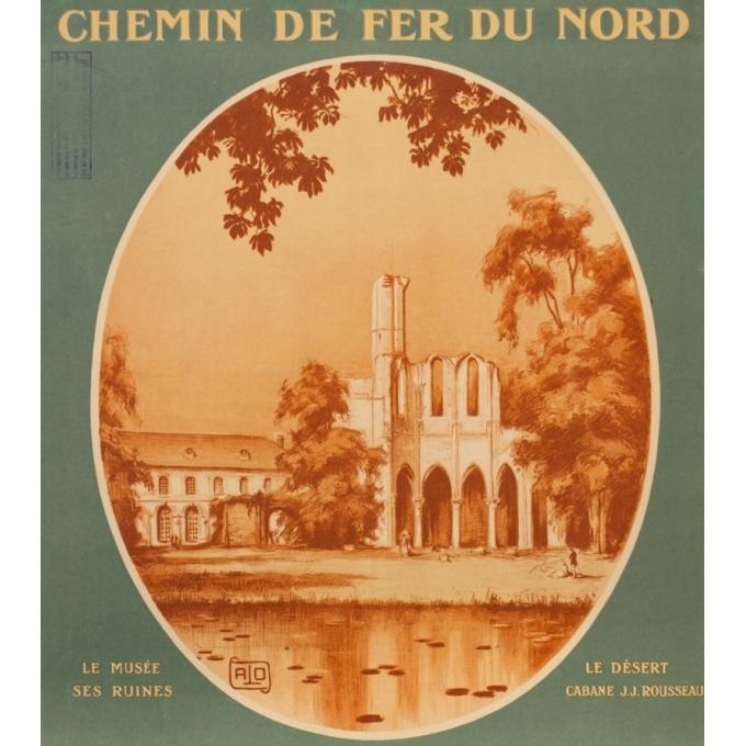 Affiche ancienne de voyage - Hallo - Circa 1920 - Senlis Abbaye De Chaalis - 104.5 par 78 cm - 2