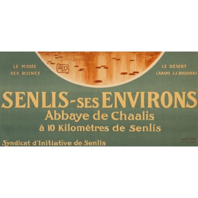 Affiche ancienne de voyage - Hallo - Circa 1920 - Senlis Abbaye De Chaalis - 104.5 par 78 cm - 3