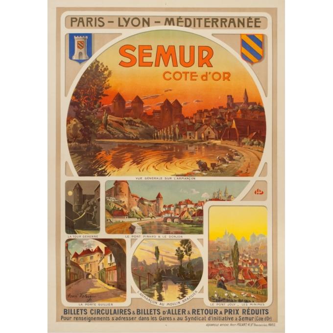 Affiche ancienne de voyage - Henri Polart - Circa 1920 - Semur Côte D'Or Bourgogne - 106.5 par 77 cm
