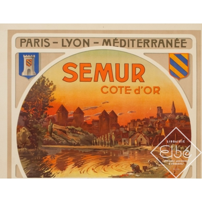 Affiche ancienne de voyage - Henri Polart - Circa 1920 - Semur Côte D'Or Bourgogne - 106.5 par 77 cm - 2