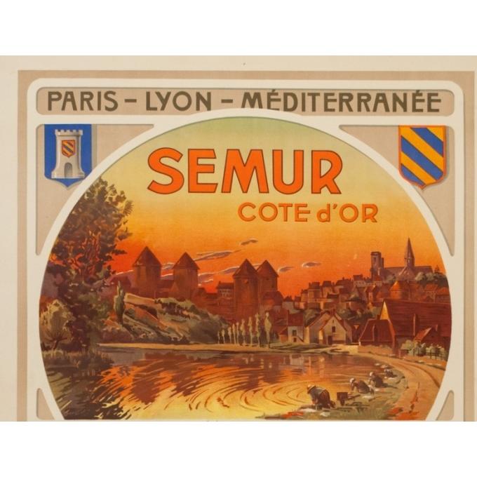 Vintage travel poster - Henri Polart - Circa 1920 - Semur Côte D'Or Bourgogne - 41.9 by 30.3 inches - 2