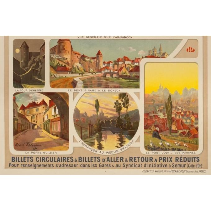Affiche ancienne de voyage - Henri Polart - Circa 1920 - Semur Côte D'Or Bourgogne - 106.5 par 77 cm - 3