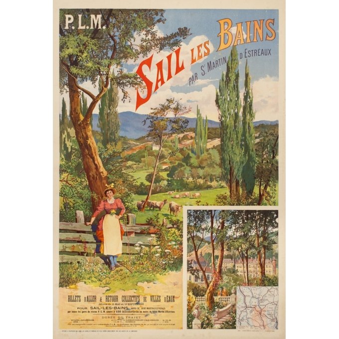 Vintage travel poster - Tanconville - Circa 1900 - Sail Les Bains - 43.5 by 29.5 inches