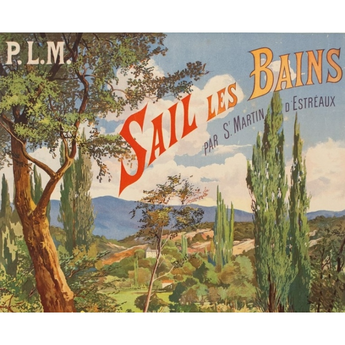 Vintage travel poster - Tanconville - Circa 1900 - Sail Les Bains - 43.5 by 29.5 inches - 2
