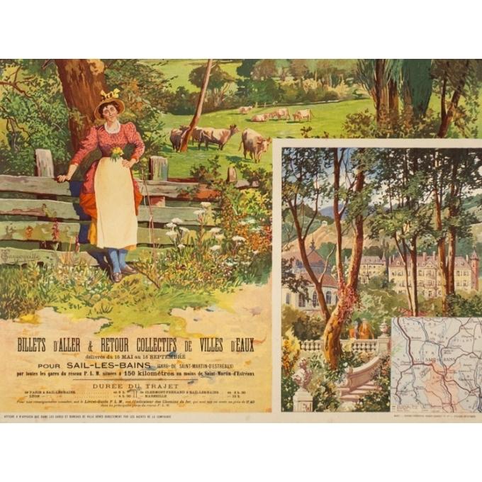 Affiche ancienne de voyage - Tanconville - Circa 1900 - Sail Les Bains - 110.5 par 75 cm - 3