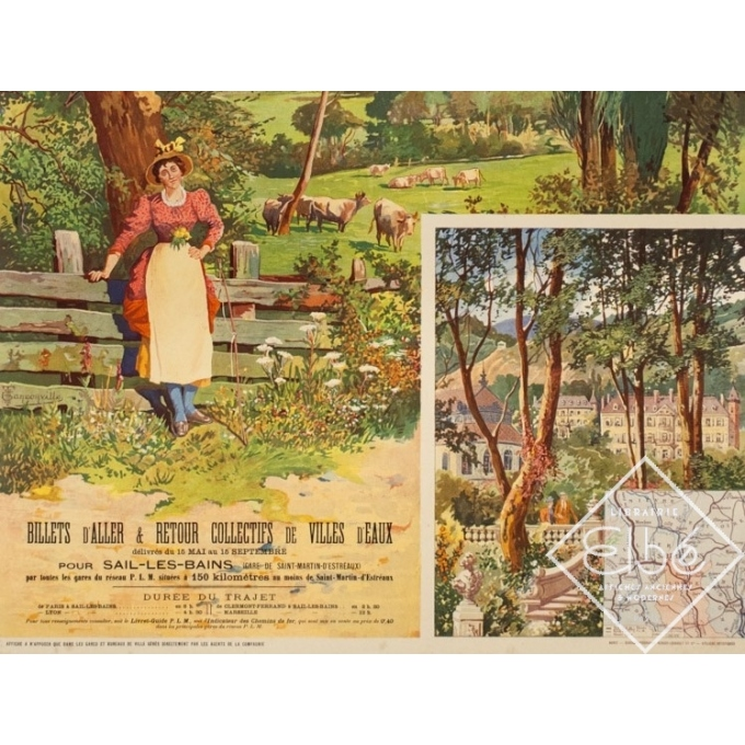 Vintage travel poster - Tanconville - Circa 1900 - Sail Les Bains - 43.5 by 29.5 inches - 3