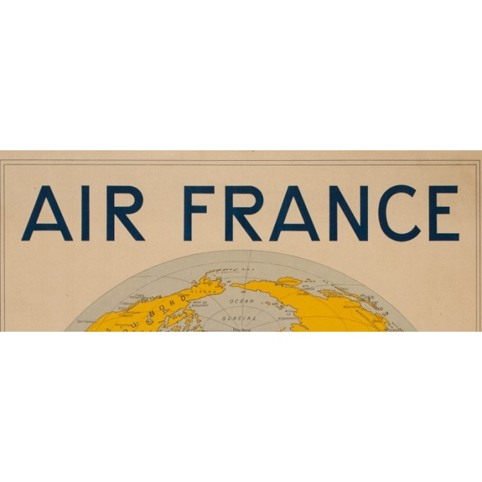Affiche ancienne de voyage - Girard - 1938 - Air France Reservation Here Map Monde - 78 par 61 cm - 2