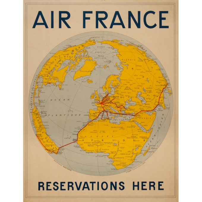 Affiche ancienne de voyage - Girard - 1938 - Air France Reservation Here Map Monde - 78 par 61 cm