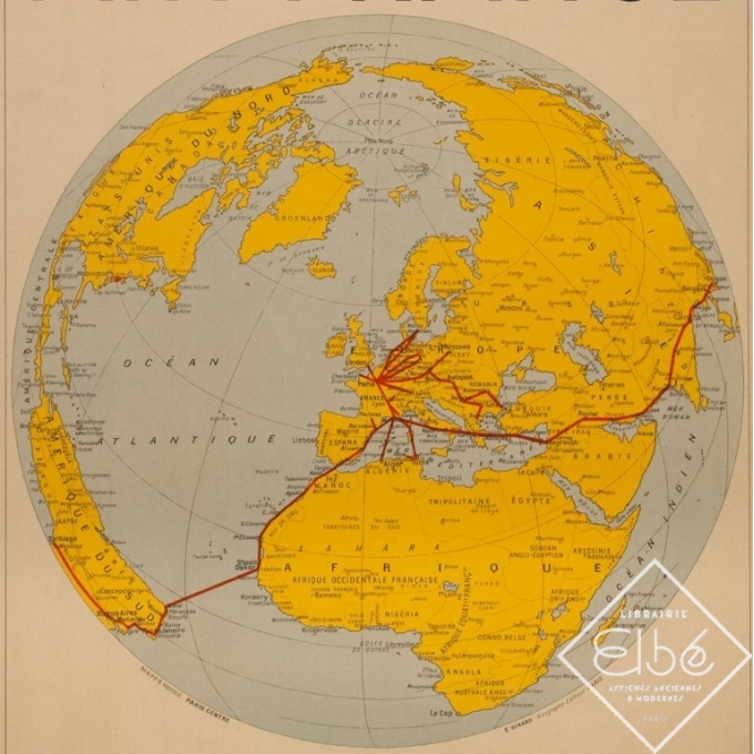 Affiche ancienne de voyage - Girard - 1938 - Air France Reservation Here Map Monde - 78 par 61 cm - 3
