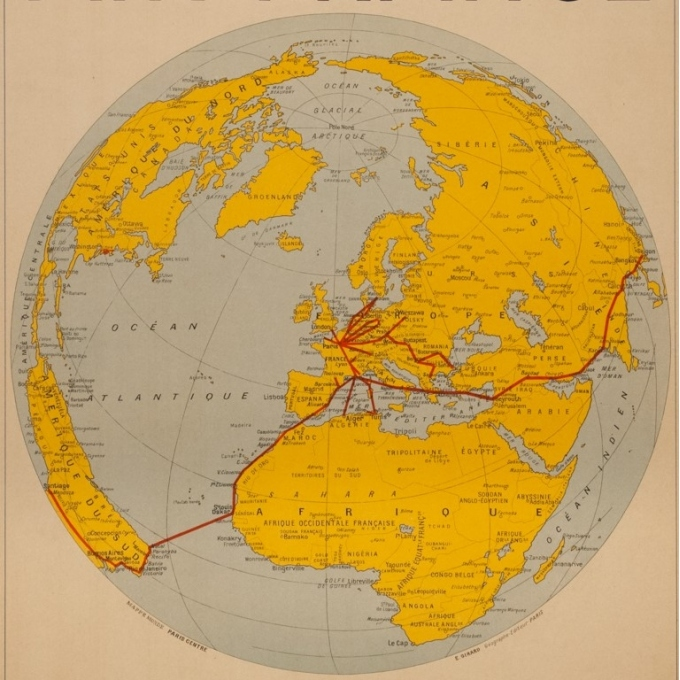 Vintage travel poster - Girard - 1938 - Air France Reservation Here Map Monde - 30.7 by 24 inches - 3