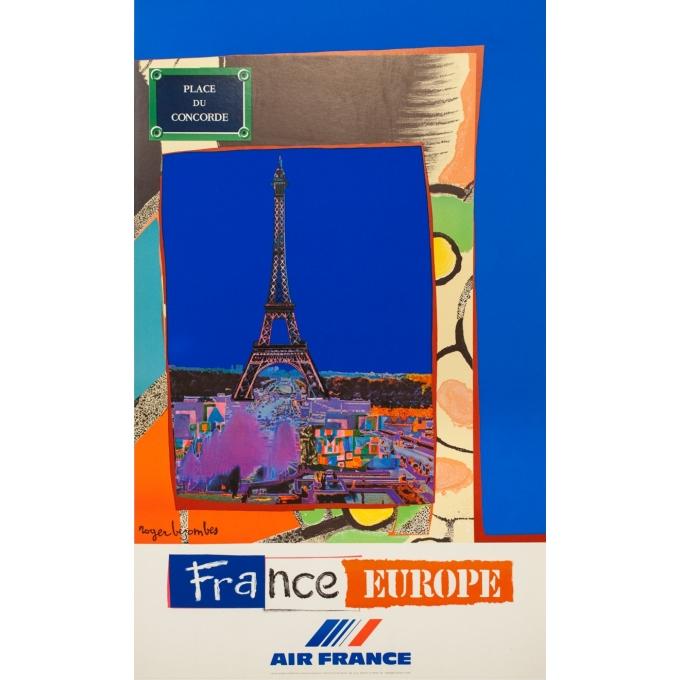 Affiche ancienne de voyage - Bezombes - 1981 - Air France Europe France - 100 par 60 cm