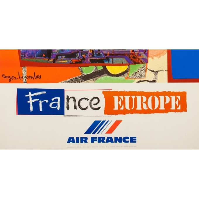 Vintage travel poster - Bezombes - 1981 - Air France Europe France - 39.4 by 23.6 inches - 3