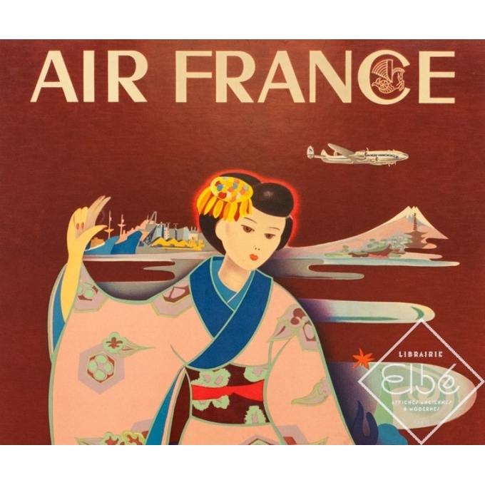 Affiche ancienne de voyage - Tabuchi - 1952 - Air France Paris Tokyo - 98 par 61.5 cm - 2