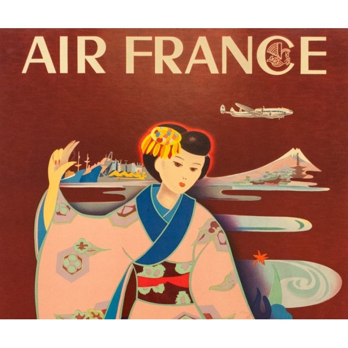 Vintage travel poster - Tabuchi - 1952 - Air France Paris Tokyo - 38.6 by 24.2 inches - 2