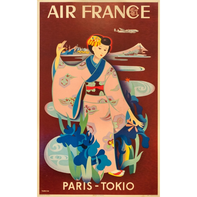 Vintage travel poster - Tabuchi - 1952 - Air France Paris Tokyo - 38.6 by 24.2 inches
