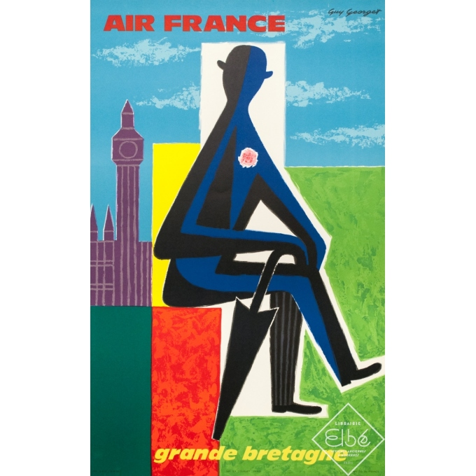 Affiche ancienne de voyage - Georget - 1962 - Air France Grande Bretagne - 99 par 62 cm