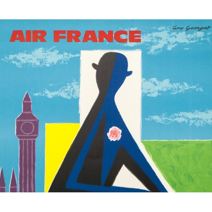 Vintage travel poster - Georget - 1962 - Air France Grande Bretagne - 39 by 24.4 inches - 2