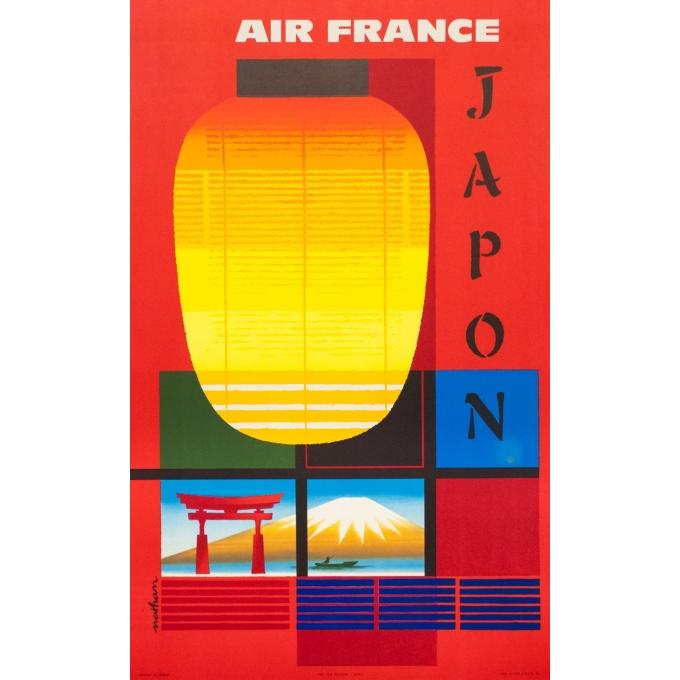 Affiche ancienne de voyage - Nathan - 1964 - Air France Japon - 99.5 par 62.5 cm