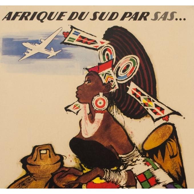 Affiche ancienne de voyage - Monogramme ON - Circa 1950 - Afrique Du Sud SAS - 99 par 62.5 cm - 2