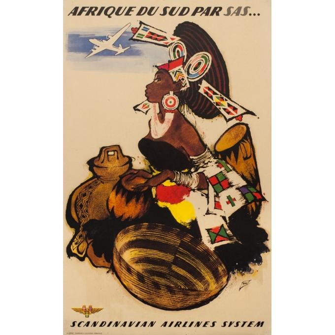 Affiche ancienne de voyage - ON - Circa 1950 - Afrique Du Sud SAS - 99 par 62.5 cm