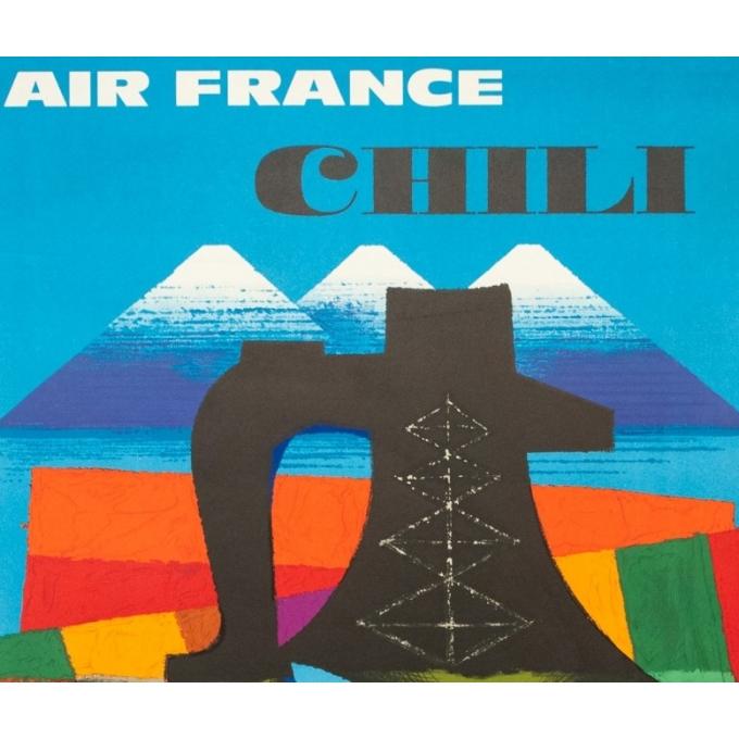 Affiche ancienne de voyage - Nathan - 1964 - Air France Chili - 99 par 62 cm - 2