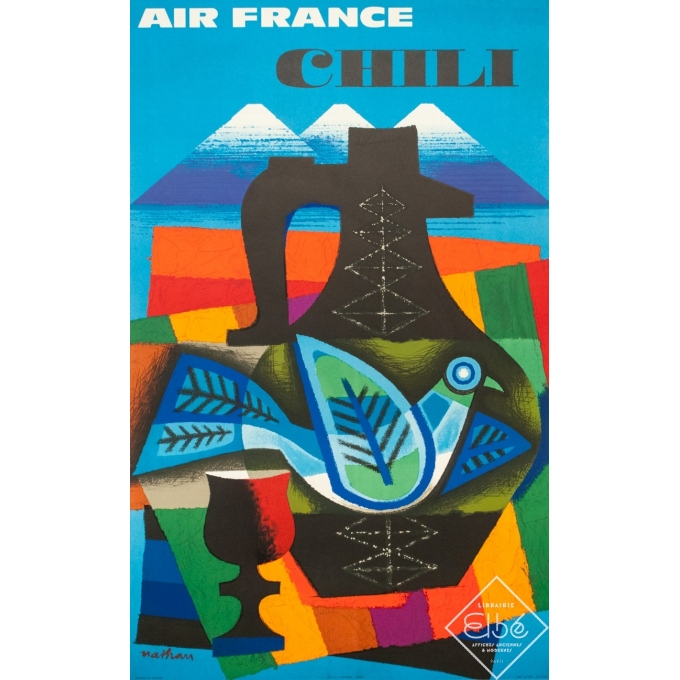 Affiche ancienne de voyage - Nathan - 1964 - Air France Chili - 99 par 62 cm