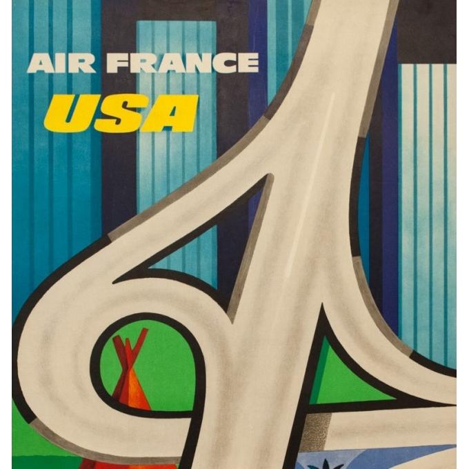 Affiche ancienne de voyage - Excoffon - 1963 - Air France Usa - 99.5 par 61.5 cm - 2