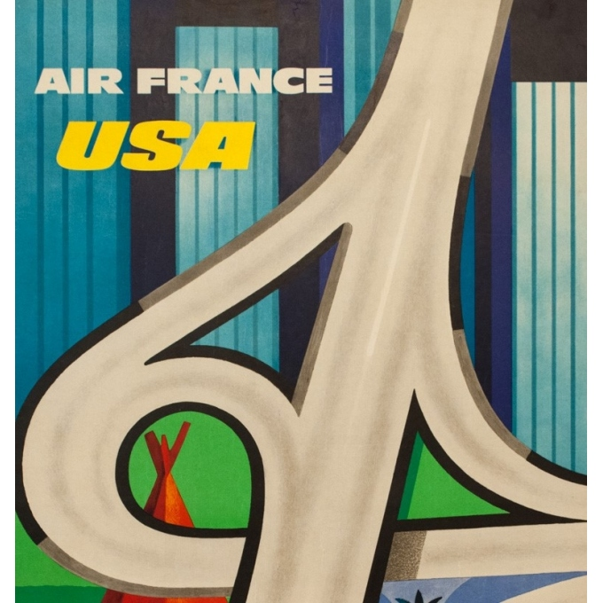 Vintage travel poster - Excoffon - 1963 - Air France Usa - 39.2 by 24.2 inches - 2