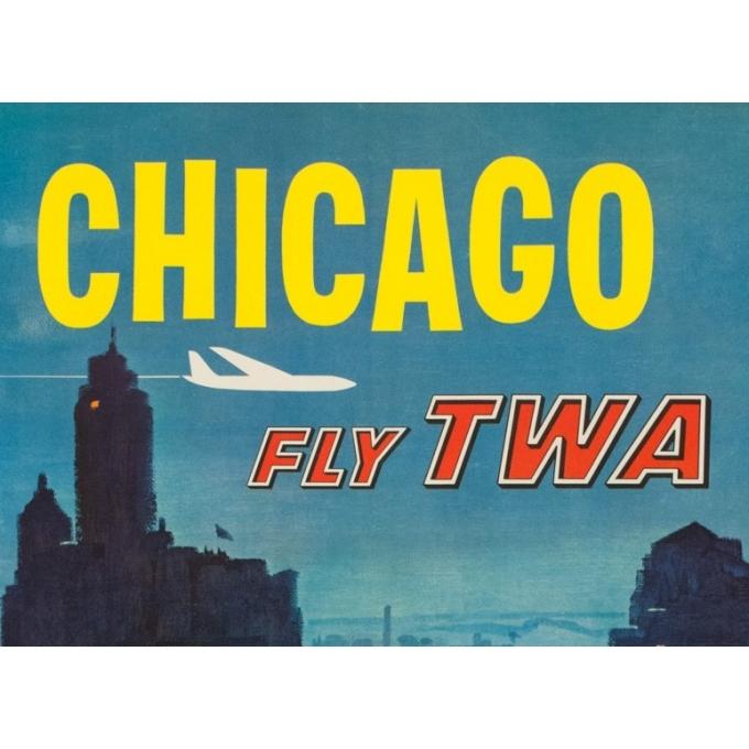 Affiche ancienne de voyage - Briggs - Circa 1955 - Chicago TWA - 101 par 64 cm - 2