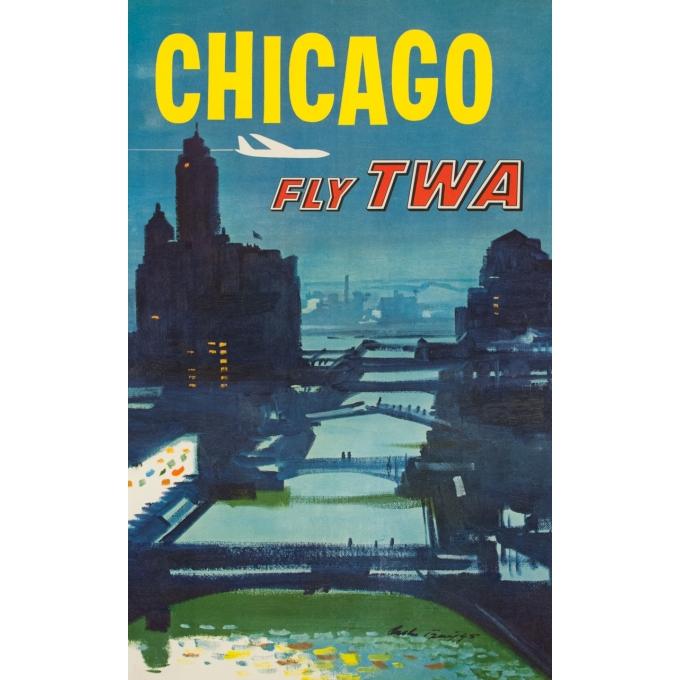 Affiche ancienne de voyage - Briggs - Circa 1955 - Chicago TWA - 101 par 64 cm