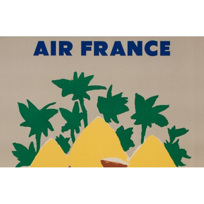 Vintage travel poster - Even - 1958 - Air France Afrique - 39.4 by 24.6 inches - 2
