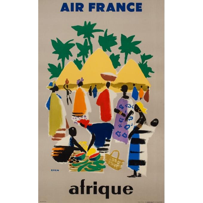 Affiche ancienne de voyage - Even - 1958 - Air France Afrique - 100 par 62.5 cm