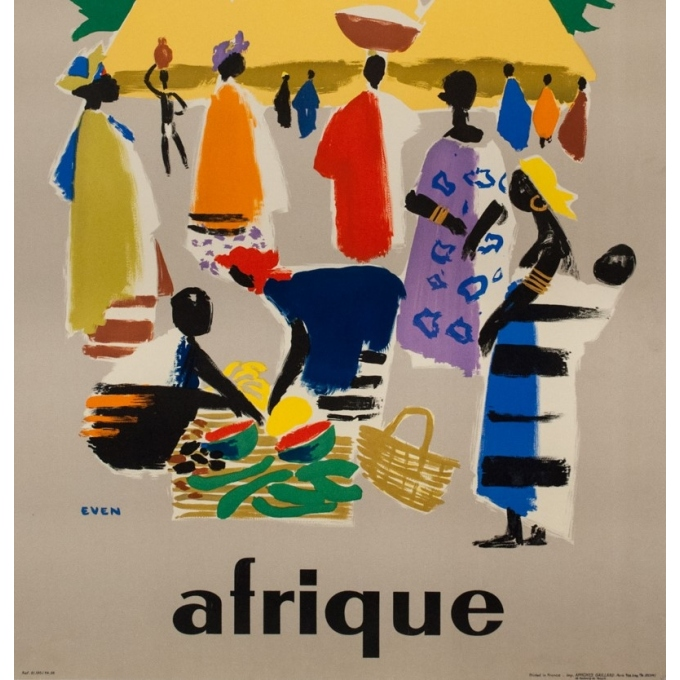 Vintage travel poster - Even - 1958 - Air France Afrique - 39.4 by 24.6 inches - 3