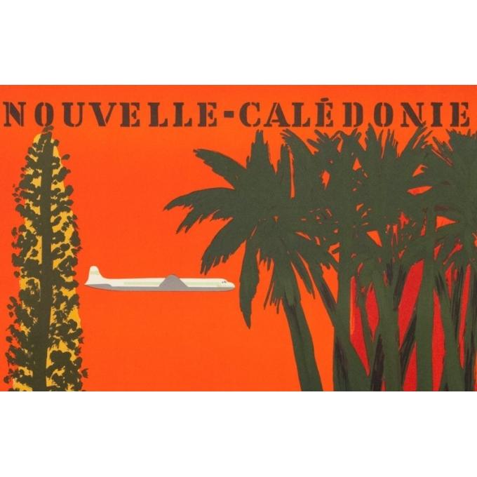 Vintage travel poster - Villemot - 1958 - Nouvelle Calédonie TAI - 39 by 24.2 inches - 2