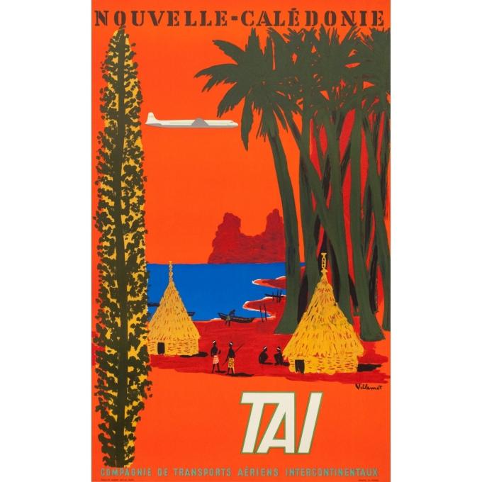 Affiche ancienne de voyage - Villemot - 1958 - Nouvelle Calédonie TAI - 99 par 61.5 cm