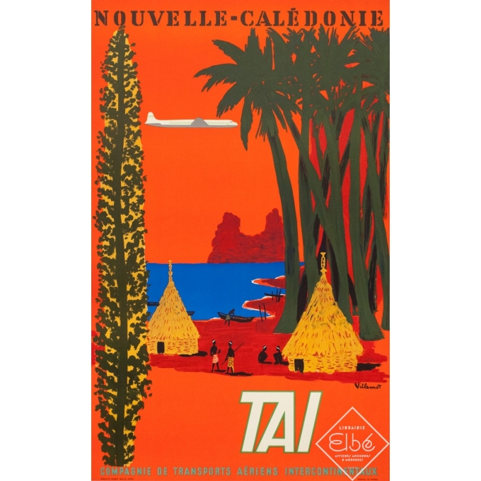 Vintage travel poster - Villemot - 1958 - Nouvelle Calédonie TAI - 39 by 24.2 inches