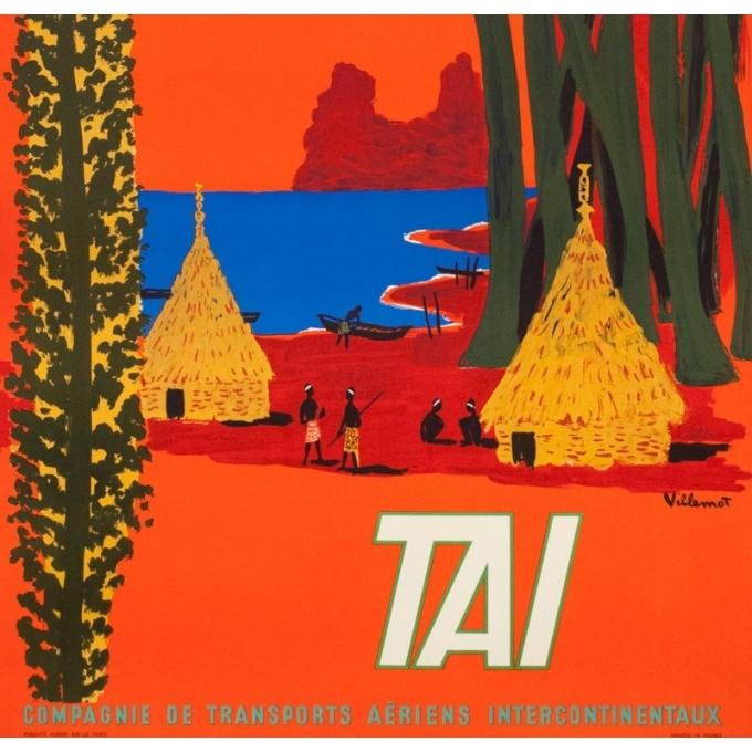 Affiche ancienne de voyage - Villemot - 1958 - Nouvelle Calédonie TAI - 99 par 61.5 cm - 3
