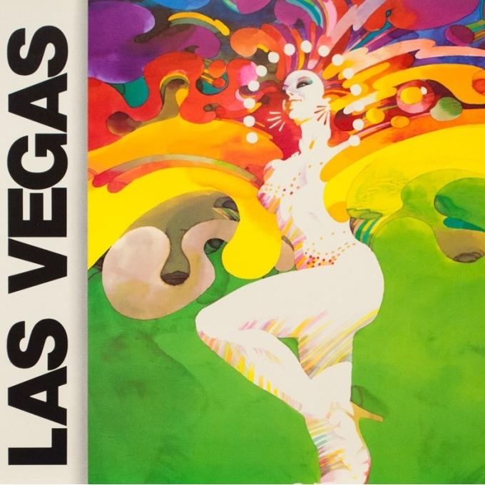 Affiche ancienne de voyage - Weller - 1980 - Las Vegas Western Air Lines - 94 par 61 cm - 2