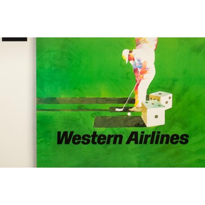 Affiche ancienne de voyage - Weller - 1980 - Las Vegas Western Air Lines - 94 par 61 cm - 3