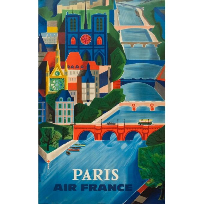 Vintage travel poster - Vernier - 1961 - Air France Paris Bridge - 39 by 24.2 inches
