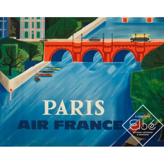 Affiche ancienne de voyage - Vernier - 1961 - Air France Paris Bridge - 99 par 61.5 cm - 3
