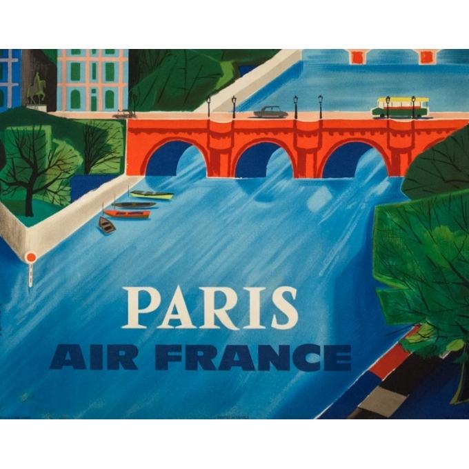 Vintage travel poster - Vernier - 1961 - Air France Paris Bridge - 39 by 24.2 inches - 3