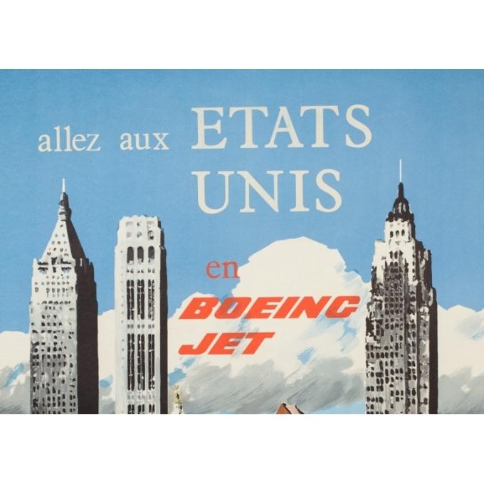 Affiche ancienne de voyage - Treidler - 1960 - Aer Lingus Etats Unis - 101.5 par 64 cm - 2