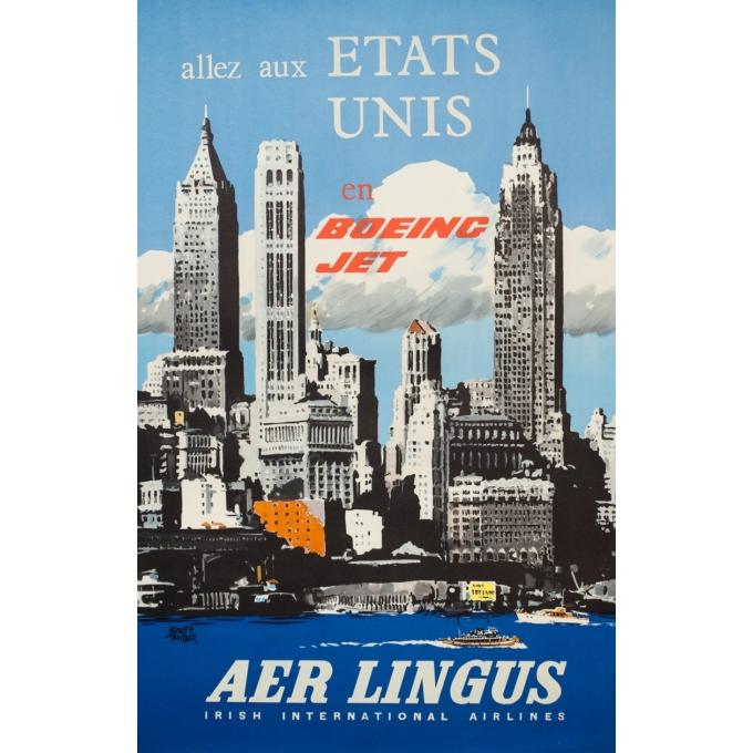 Affiche ancienne de voyage - Treidler - 1960 - Aer Lingus Etats Unis - 101.5 par 64 cm