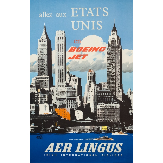 Vintage travel poster - Treidler - 1960 - Aer Lingus Etats Unis - 40 by 25.2 inches
