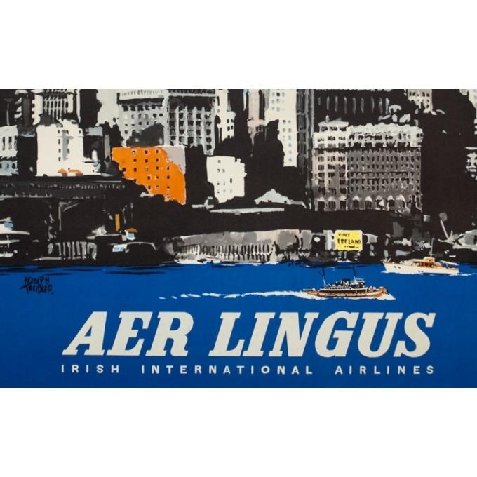 Affiche ancienne de voyage - Treidler - 1960 - Aer Lingus Etats Unis - 101.5 par 64 cm - 3