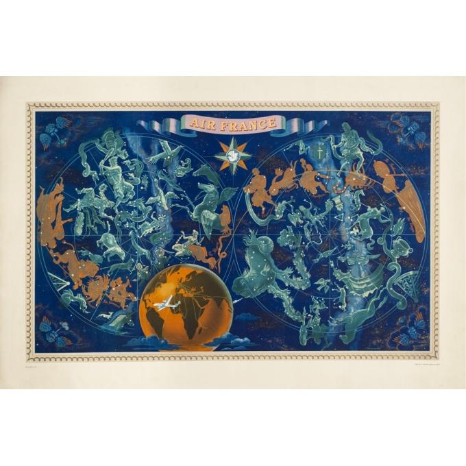 Affiche ancienne de voyage - Lucien boucher - 1951 - Air France Planisphère Constellation - 107.5 par 73 cm